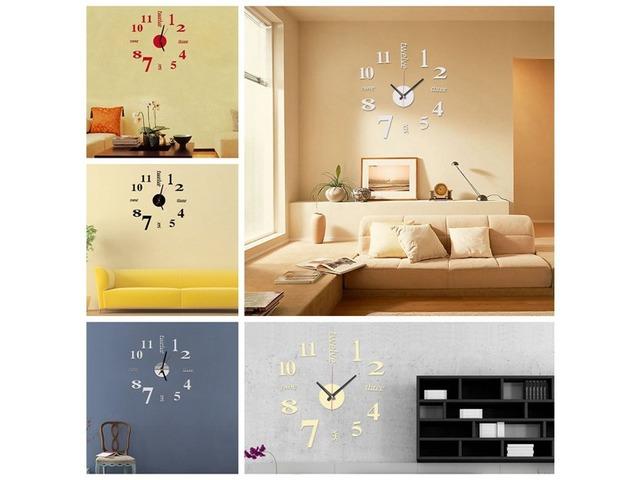 DIY Mini Modern Art Mirror Wall Clock 3D Sticker Design Home Office ...