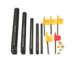 15pcs 7/10/12/16/20mm SCLCR09 Lathe Turning Tool Holder with CCMT060204 Inserts and Wrench