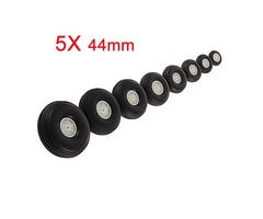 5X 44MM Rubber Wheel For RC Airplane And DIY Robot Tires