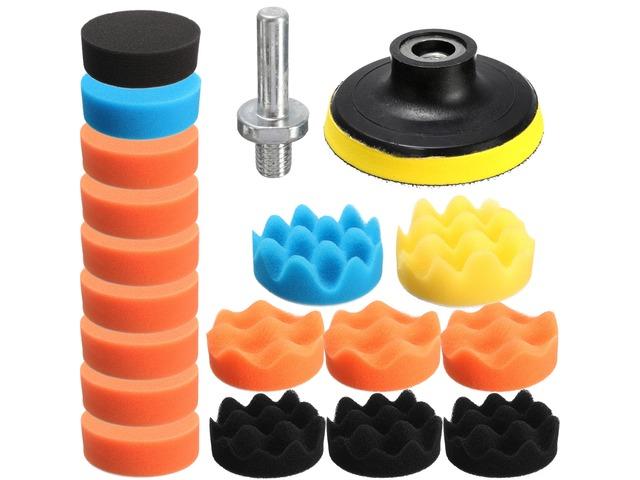 Drillpro 19PCS 80mm Flat Sponge Buff Buffing Pad Polishing Pad Kit Set | FreeAds.info