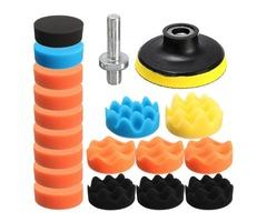 Drillpro 19PCS 80mm Flat Sponge Buff Buffing Pad Polishing Pad Kit Set