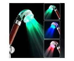 Bathroom 3 Colors LED Light Automatic Temperature Sensor Negative Filiter Ball Shower Head