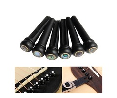 6Pcs Abalone Ebony Guitar Bridge Bone Pins Set For Acoustic Guitar