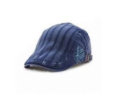 Unisex Cotton Embroidery Stripe Beret Hat Duckbill Golf Flat Buckle Visor Cabbie Cap For Men Women