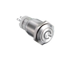 16MM 6V/12V/24V/110V/220V Waterproof Self Reset Stainless Steel Metal Button Switch With White LED L
