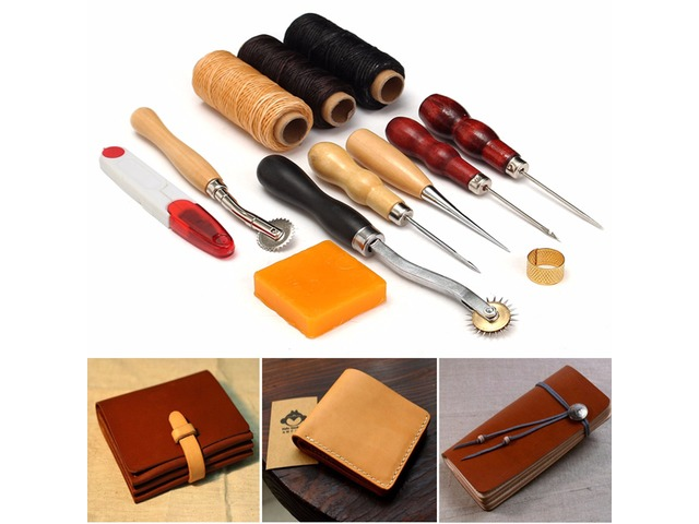 13pcs Wood Handle Leather Craft Tools Kit Leather Hand Sewing Tool Punch Cutter DIY Set | FreeAds.info