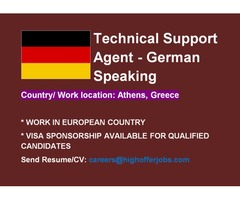 Tech Support Agent- German Speaking for Greece, Visa Sponsorship Available