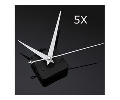 5Pcs DIY White Triangle Hands Quartz Black Wall Clock Movement Mechanism
