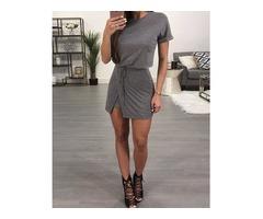 Stylish Tied Waist Casual T-shirt Dress
