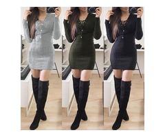 Trendy Eyelet Lace-up Bodycon Mini Dress