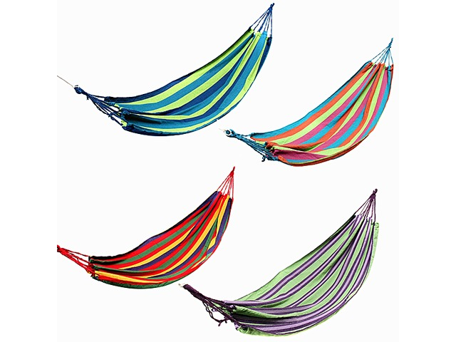 Outdoor Colorful Stripe Canvas Hammock Swing Lying Recline Bed For Camping Hiking Picnic | FreeAds.info