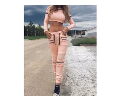 Fashion Zipper Design Cropped Drawstring Suit Set