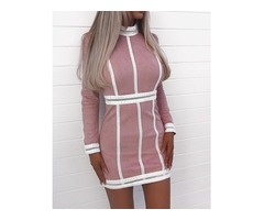 Contrast Hem Hollow Out Bodycon Dress
