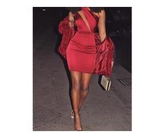 Asymmetric Cut Out Bodycon Mini Dress | FreeAds.info