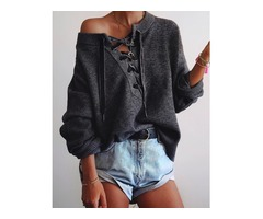 Cozy Lace-up Eyelet Loose Knitted Sweater