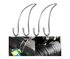 2Pcs Stainless Steel Seat Head Rest Hook Bag Purse Hanger Holder Universal for Car Truck Boat