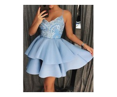 Crochet Lace Ruffles Layered Boxed Dress