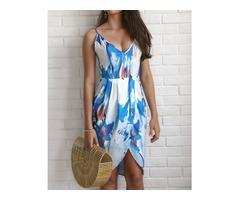 Digital Print Wrapover Casual Cami dress