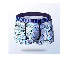 ZK Mens Ice Silk Super Soft Antibacterial Breathable U Convex Underwear Boxers