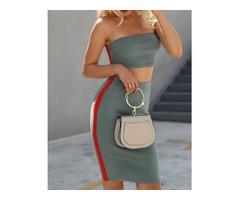 Side Striped Strapless Tube Top&Skirt Set
