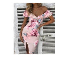 Floral Ruffle Off Shoulder Split Midi Dress
