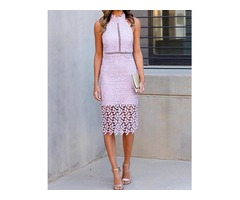 Halter Crochet Lace Hollow Out Midi Dress