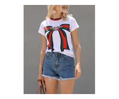 Oversize Bowknot Striped Print Short Sleeve T-shirt