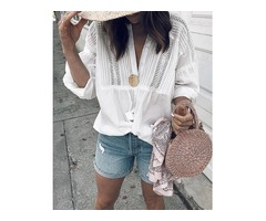 White Hollow Out Button Design Casual Blouse