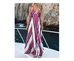 V Neck Striped Print Tie Strap Maxi Dress