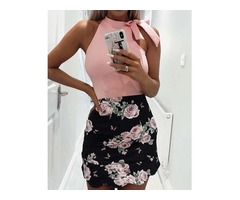Sleeveless Tied Shoulder Print Splicing Mini Dress