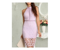 Halter Crochet Lace Hollow Out Midi Dress