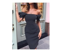 Polka Dots Off Shoulder Puff Sleeve Bodycon Dress