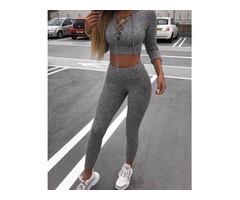 Lace-Up Long Sleeve Hoodie Crop Top & Pants Sets