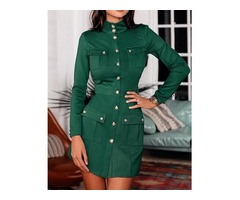 Solid Button Pocket Design Coat Dress