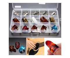15pcs Multicolor Stainless Steel Celluloid Thumb Finger Guitar Picks With Case | FreeAds.info