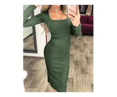Square Neck Long Sleeve Bodycon Midi Dress