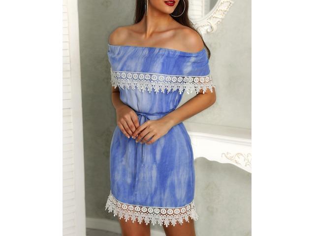 Off Shoulder Crochet Trim Belted Bodycon Dress | FreeAds.info