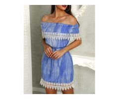 Off Shoulder Crochet Trim Belted Bodycon Dress