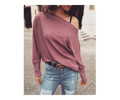 Solid Skew Neck Long Sleeve Casual Top | FreeAds.info