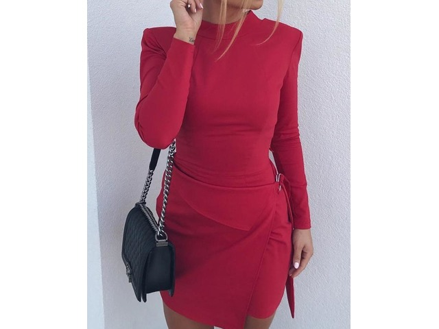 Solid Long Sleeve Bodycon Mini Dress   FreeAds.info