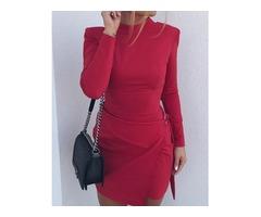 Solid Long Sleeve Bodycon Mini Dress