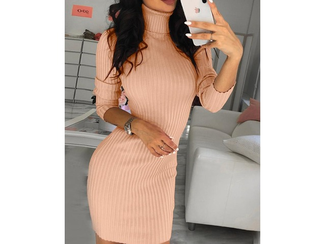 Solid High Neck Long Sleeve Bodycon Dress | FreeAds.info