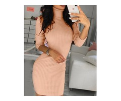 Solid High Neck Long Sleeve Bodycon Dress