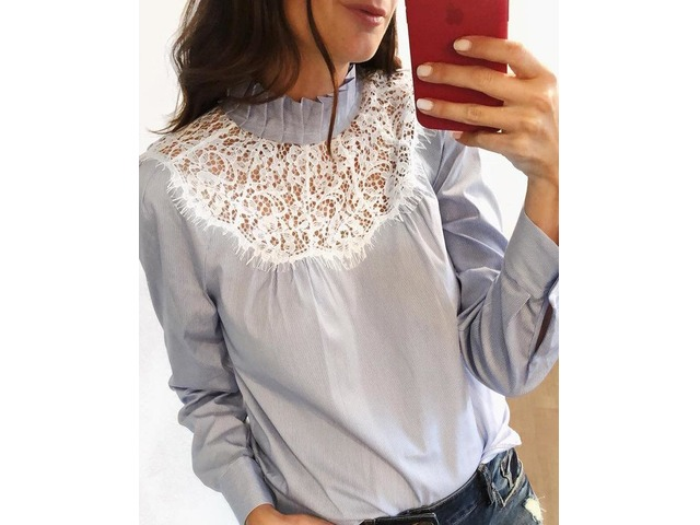 Pinstripes Frill Neck Eyelash Lace Insert Blouse | FreeAds.info