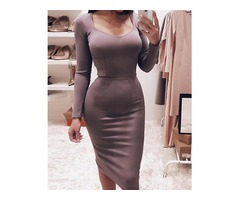 Solid Long Sleeve Bodycon Pencil Dress | FreeAds.info