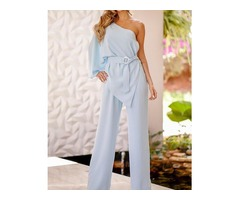 One Shoulder Irregular Design Belted Jumpsuits
