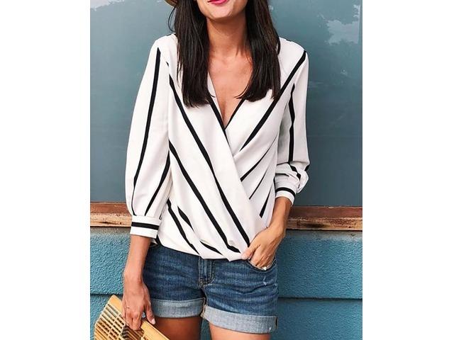 Contrast Stripes Deep V Wrapped Blouses | FreeAds.info