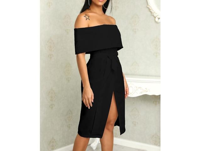 Fold Over Off Shoulder Belted High Slit Dress   FreeAds.info
