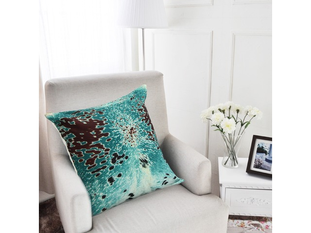 45x45cm Turquoise Cowhide Look Throw Pillow Case Cushion Cover Decorative Pillowcase   FreeAds.info