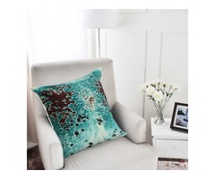 45x45cm Turquoise Cowhide Look Throw Pillow Case Cushion Cover Decorative Pillowcase